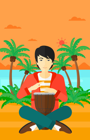 An asian man playing tomtom on the background of tropical beach with palm trees and the sea vector flat design illustration. Vertical layout.