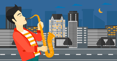 soloist: An asian man playing saxophone on a night city background vector flat design illustration. Horizontal layout.