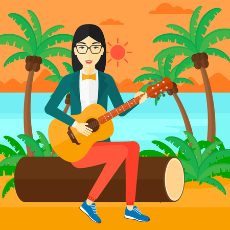 lanscape: An asian woman sitting on a log and playing a guitar on the background of tropical beach with palm trees and the sea vector flat design illustration. Square layout.