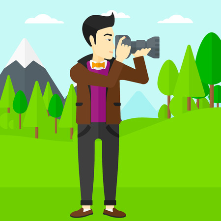 taking photo: An asian man taking photo on the background of green forest and mountains vector flat design illustration. Square layout.
