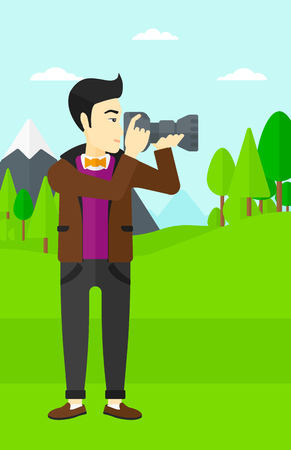 An asian man taking photo on the background of green forest and mountains vector flat design illustration. Vertical layout.