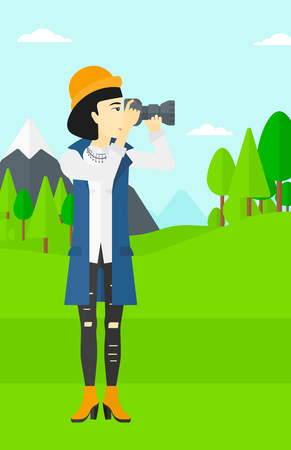 taking photo: An asian woman taking photo on the background of green forest and mountains vector flat design illustration. Vertical layout.