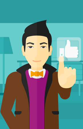 like button: An asian man pressing like button on the background of apartment vector flat design illustration. Vertical layout. Illustration
