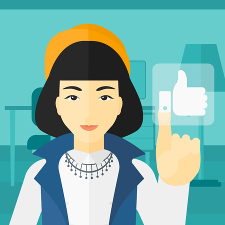 like button: An asian woman pressing like button on the background of apartment vector flat design illustration. Square layout.