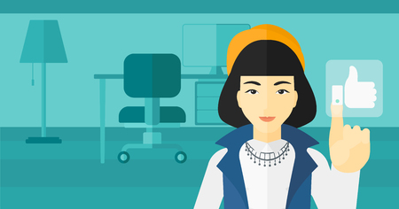pressing: An asian woman pressing like button on the background of apartment vector flat design illustration. Horizontal layout.