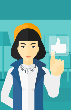 like button: An asian woman pressing like button on the background of apartment vector flat design illustration. Vertical layout.
