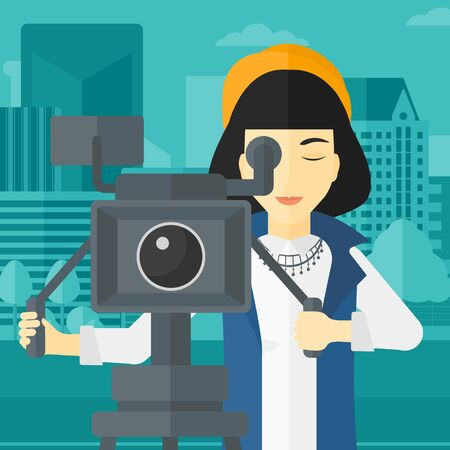 cinematographer: An asian camerawoman looking through movie camera on a city background vector flat design illustration. Square layout. Illustration