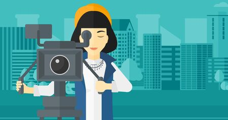 cinematographer: An asian camerawoman looking through movie camera on a city background vector flat design illustration. Horizontal layout.
