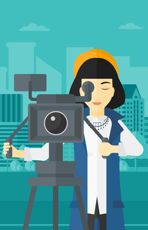 An asian camerawoman looking through movie camera on a city background vector flat design illustration. Vertical layout.