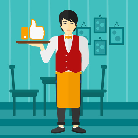 like button: An asian waiter carrying a tray with like button on a cafe background vector flat design illustration. Square layout.