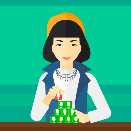 An asian woman making pyramid of avatars on a light green background vector flat design illustration. Square layout. Vectores