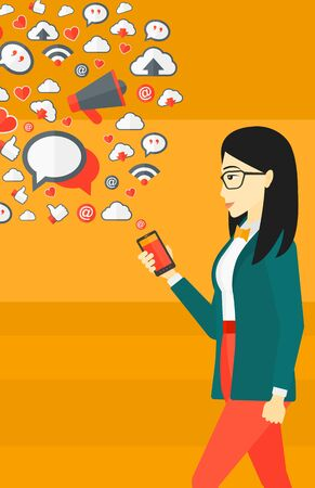 software design: An asian woman using smartphone with lots of social media application icons flying out vector flat design illustration isolated on yellow background. Vertical layout.