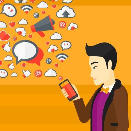 An asian man using smartphone with lots of social media application icons flying out vector flat design illustration isolated on yellow background. Square layout.