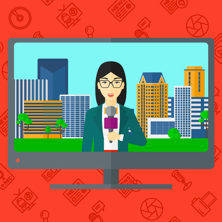 Television set broadcasting the news with an asian reporter vector flat design illustration isolated on red background with media icons. Square layout.