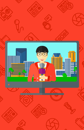announcer: Television set broadcasting the news with an asian  reporter vector flat design illustration isolated on red background with media icons. Vertical layout.