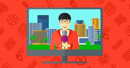 announcer: Television set broadcasting the news with an asian reporter vector flat design illustration isolated on red background with media icons. Horizontal layout.
