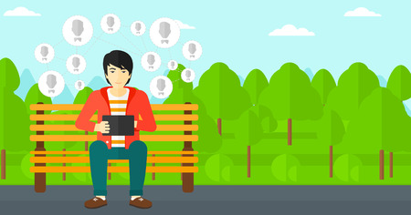communication cartoon: An asian man sitting on a bench in the park and holding a tablet computer with many avatar icons above vector flat design illustration. Horizontal layout.