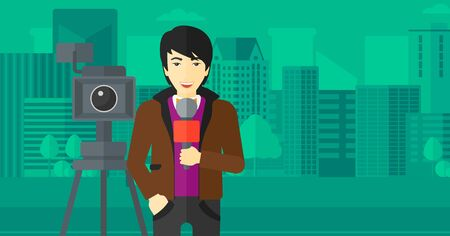 filming: A camera filming and an asian reporter standing with a microphone on a city background vector flat design illustration. Horizontal layout.