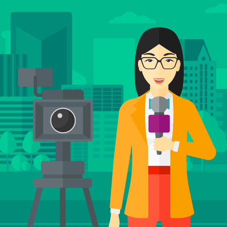 A camera filming and an asian reporter standing with a microphone on a city background vector flat design illustration. Square layout.