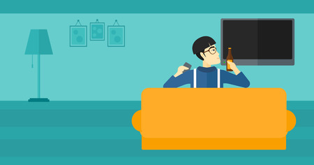 An asian man sitting on the couch in living room and watching tv with remote controller in one hand and a bottle in another vector flat design illustration. Horizontal layout.