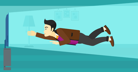 An asian man flying in front of TV screen in living room vector flat design illustration. Horizontal layout. Illustration