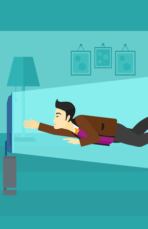 An asian man flying in front of TV screen in living room vector flat design illustration. Vertical layout. Illustration