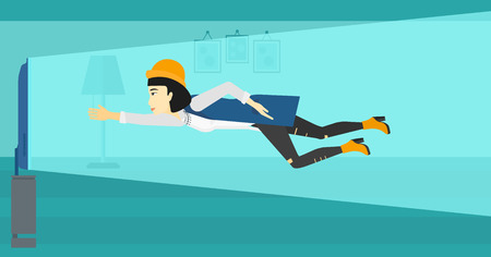 An asian woman flying in front of TV screen in living room vector flat design illustration. Horizontal layout.