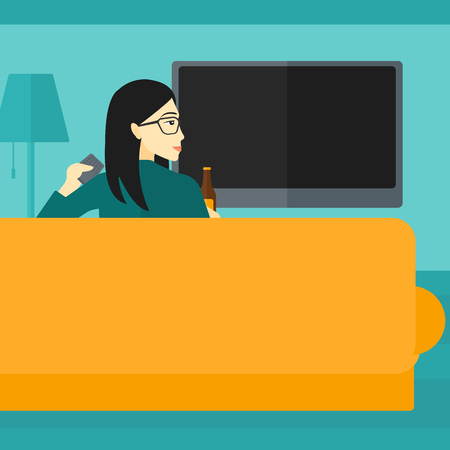 lcd tv: An asian woman sitting on the couch in living room and watching tv with remote controller in one hand and a bottle in another vector flat design illustration. Square layout.