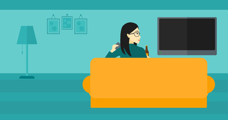 lcd tv: An asian woman sitting on the couch in living room and watching tv with remote controller in one hand and a bottle in another vector flat design illustration. Horizontal layout. Illustration