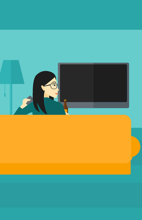 woman watching tv: An asian woman sitting on the couch in living room and watching tv with remote controller in one hand and a bottle in another vector flat design illustration. Vertical layout.