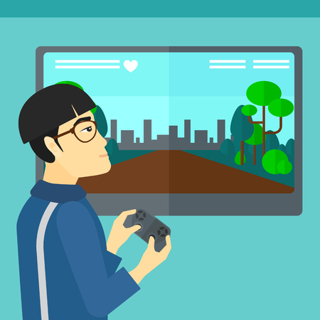 playing video game: An asian man playing video game with gamepad in hands vector flat design illustration. Square layout. Illustration