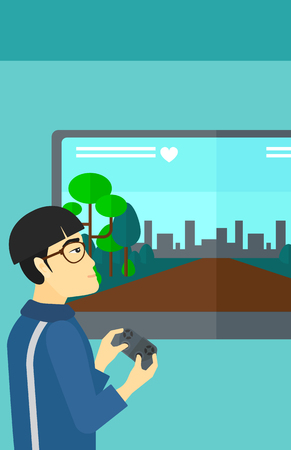 playing video game: An asian man playing video game with gamepad in hands vector flat design illustration. Vertical layout. Illustration