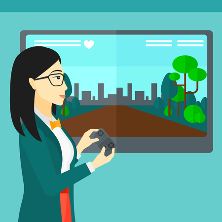 playing video game: An asian woman playing video game with gamepad in hands vector flat design illustration. Square layout.
