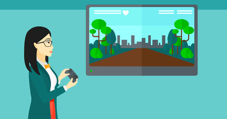 playing video game: An asian woman playing video game with gamepad in hands vector flat design illustration. Horizontal layout.