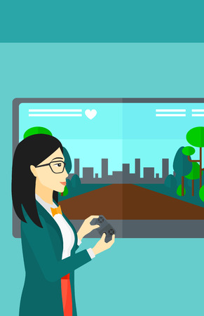 playing video game: An asian woman playing video game with gamepad in hands vector flat design illustration. Vertical layout.