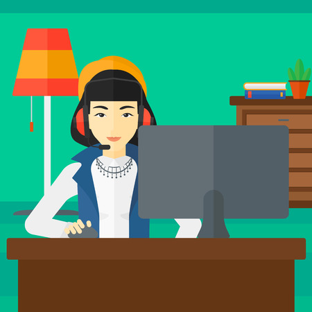 asian woman: An asian woman in headphones sitting in front of computer monitor with mouse in hand on living room background vector flat design illustration. Square layout.