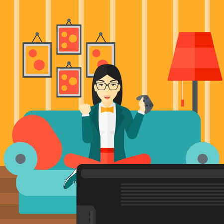An asian woman with gamepad in hands sitting on a sofa in living room vector flat design illustration. Square layout.