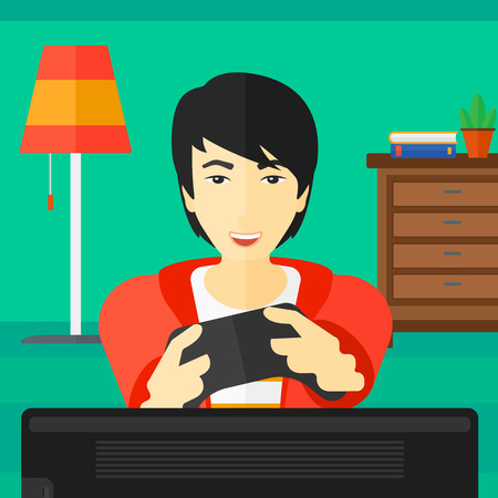 concentrating: An enthusiastic asian man with gamepad in hands on a living room background vector flat design illustration. Square layout.