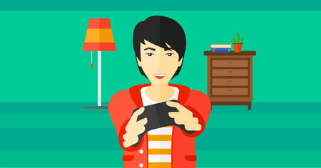 enthusiastic: An enthusiastic asian man with gamepad in hands on a living room background vector flat design illustration. Horizontal layout. Illustration