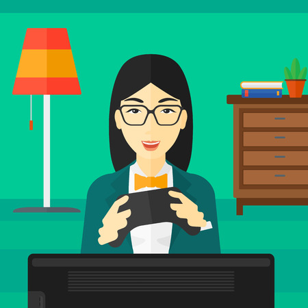 concentrating: An enthusiastic asian woman with gamepad in hands on a living room background vector flat design illustration. Square layout. Illustration