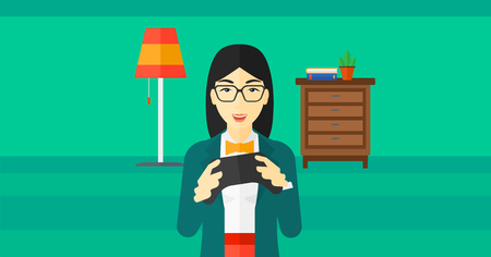 enthusiastic: An enthusiastic asian woman with gamepad in hands on a living room background vector flat design illustration. Horizontal layout.