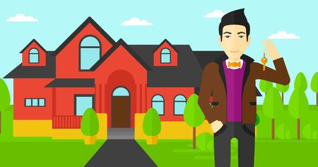 driveway: An asian real estate agent holding key on the background of red house vector flat design illustration. Horizontal layout.