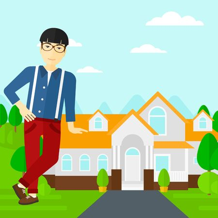 An asian real estate agent standing near the house with beautiful landscape vector flat design illustration. Square layout. 일러스트