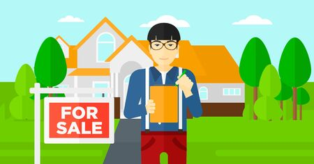 signing agent: An asian real estate agent signing documents in front of the house with for sale sign vector flat design illustration. Horizontal layout.