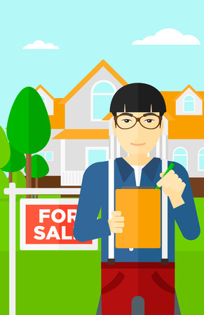 signing agent: An asian real estate agent signing documents in front of the house with for sale sign vector flat design illustration. Vertical layout.