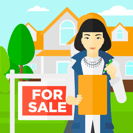 signing: An asian real estate agent signing documents in front of the house with for sale sign vector flat design illustration. Square layout. Illustration