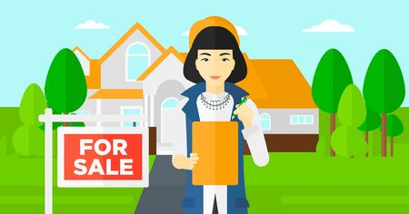 for sale sign: An asian real estate agent signing documents in front of the house with for sale sign vector flat design illustration. Horizontal layout.