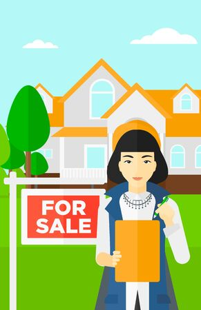 signing: An asian real estate agent signing documents in front of the house with for sale sign vector flat design illustration. Vertical layout.