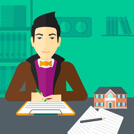 small office: An asian man sitting in office at the table while signing a contract and a small model of the house standing on the table vector flat design illustration. Square layout.
