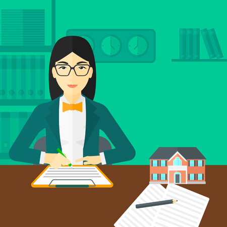 signing a contract: An asian woman sitting in office at the table while signing a contract and a small model of the house standing on the table vector flat design illustration. Square layout. Illustration